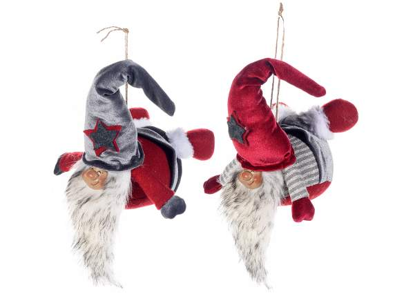 Flying cloth Santa Claus w/artificial fur to hang
