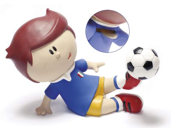 Polyresin money bank with soccer player