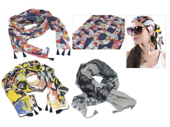 Foulard fantasia in cotone 100 con nappine