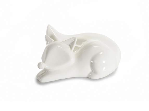 Shiny leaning fox in porcelain