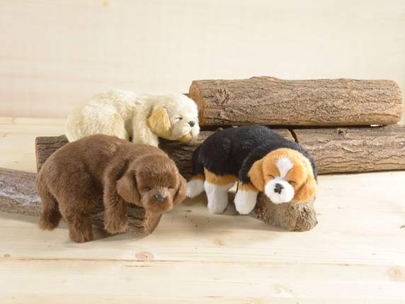 Decorative synthetic furry puppy on shelf