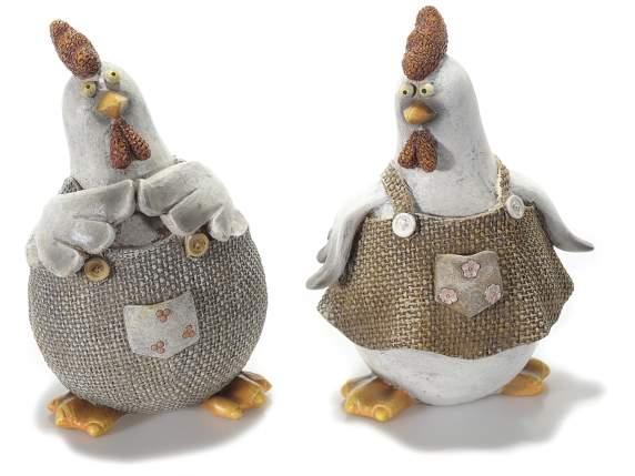 Gallina decorativa in resina effetto stoffa for Decoration poule pour cuisine