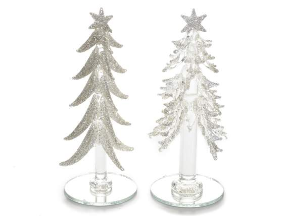 Christmas trees in glass on mirror base
