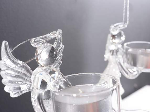 Set 3 glass angels candle holder to hang