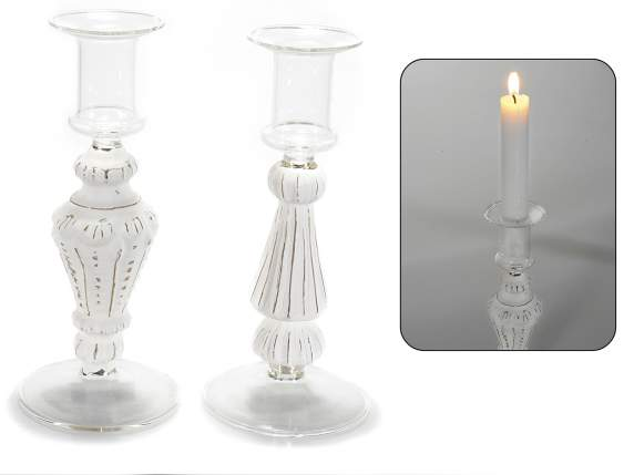 Candlesticks in white glass