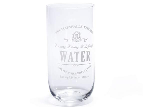 Water glass in transparent glass