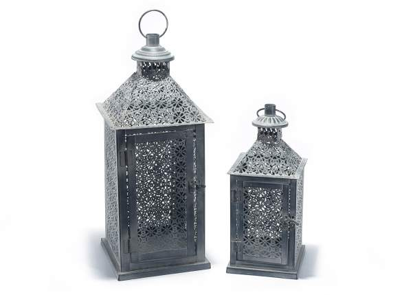 Set 2 lanterns in gray metal