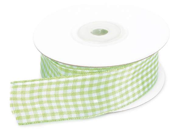 Apple green checked ribbon mm 25x25 mt