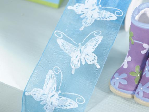 Grosgrain turquoise with butterfly c-print mm 40x25 mt