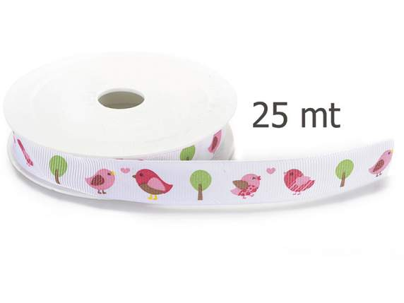 Grosgrain white ribbon bird c-print mm 15x25 mt