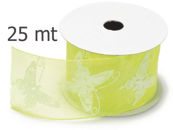 Grosgrain yellow acid ribbon butterfly c-print mm 40x25 mt