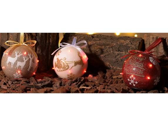 Pallina natalizia c glitter e luci led da appendere in for Luci led piccole