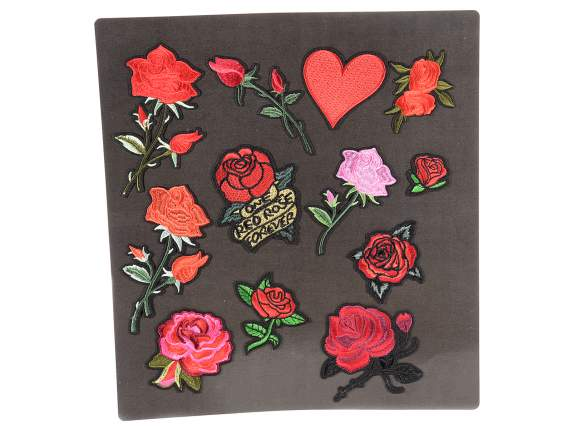 Espo 12 toppe patches ricamate Roses termoadesive