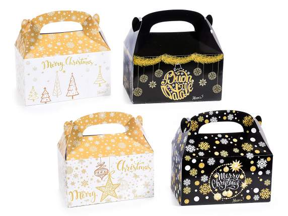Scatola a bauletto in carta con stampa Golden Christmas