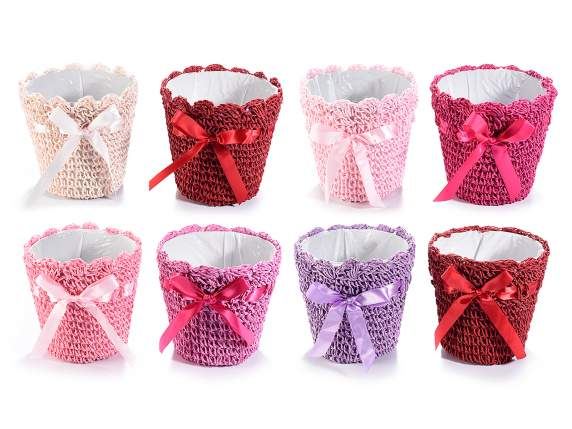 Hand worked paper round basket with ribbon
