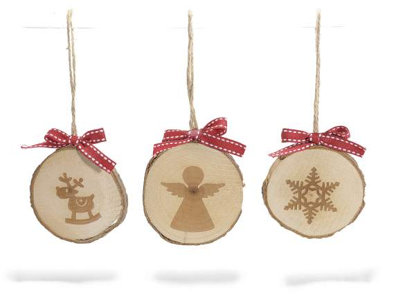Hanging  wooden Christmas decorations and red bow