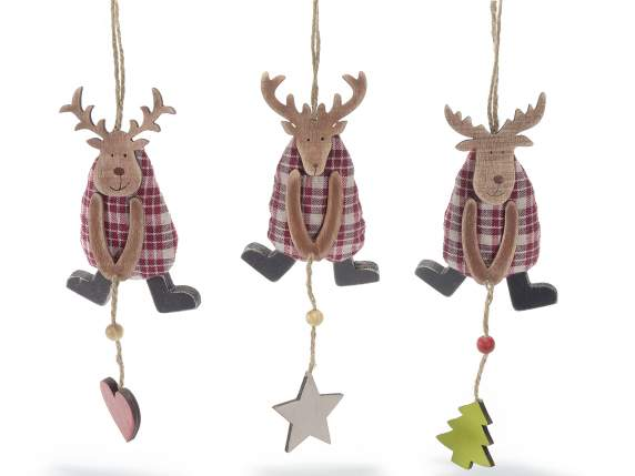 Hanging fabric reindeers with heart, star and tree