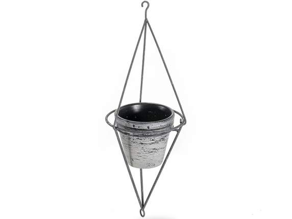 Decorative metal hanging with flowerpot included