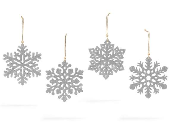 Hanging wooden glitter snowflakes