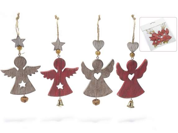 Set 4 hanging wooden angel with bell