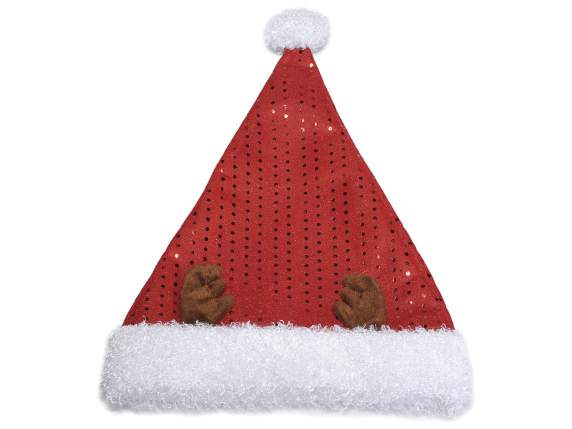Santa Claus polyester hat w-reindeer horns