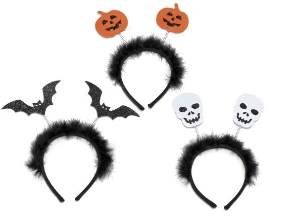 Halloween headband with plumage
