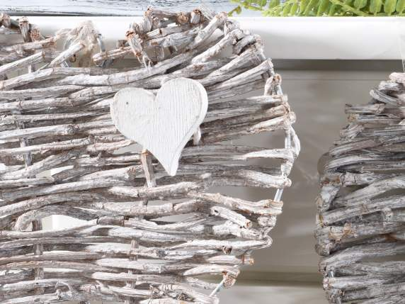 Set 3 rattan heart decoration w-hanging string