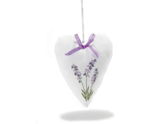 Hanging cushion heart w-lavender embroidery