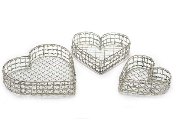 Set 3 heart metal baskets