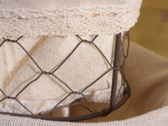 Set 3 heart wire storage baskets w-cloth linen