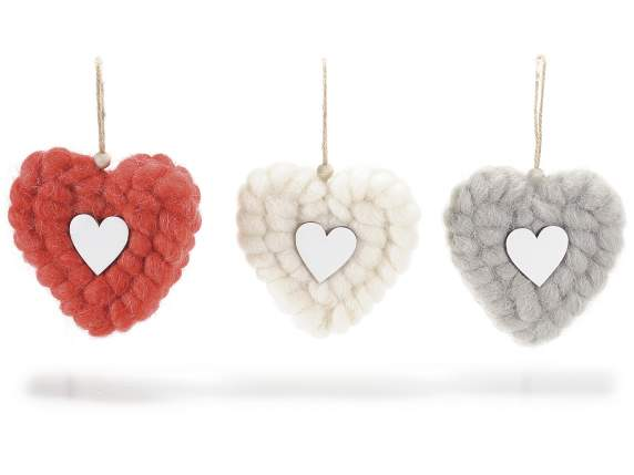 Wooden hanging hearts w-woollen cover