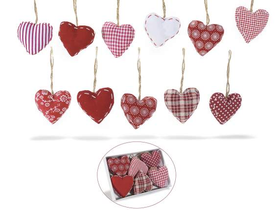 Box of 6 hanging hearts in stuffed cloth