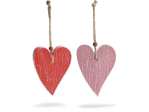 Hanging hearts in coloured wood
