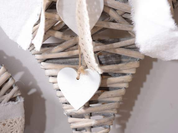 Hanging natural wicker hearts w-lace and hearts decorations