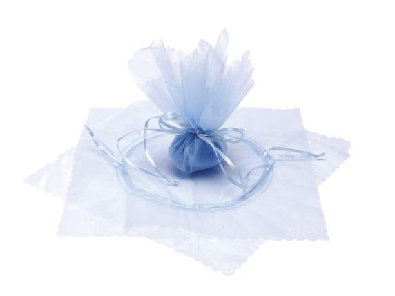 Light blue sugared almonds sachet w-round base and string