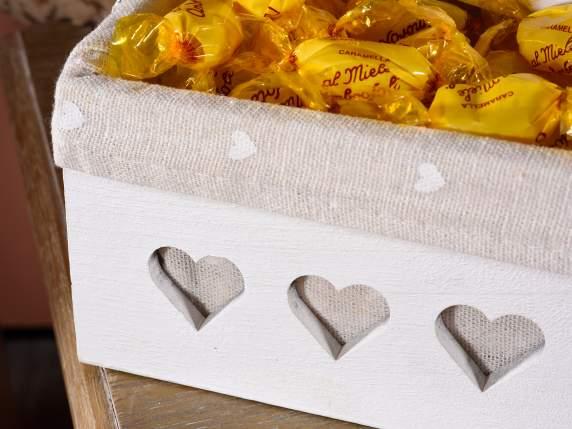 Set 3 weißen Holzkorb mit Schnitzen und Herzgewebe (51.21.66) - Art ...