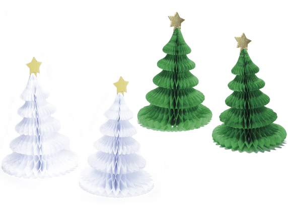 Set 2 honeycomb Xmas trees in paper
