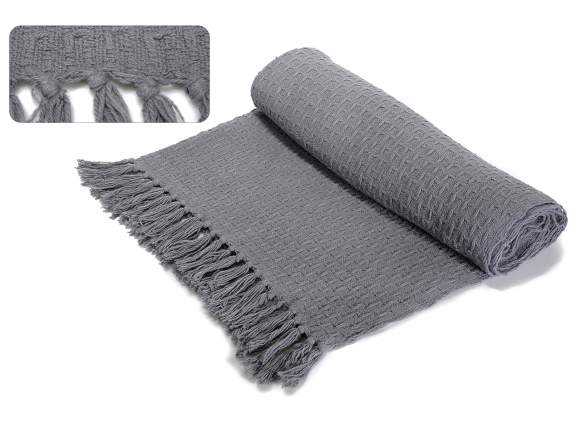 Gray honeycomb cotton blankets