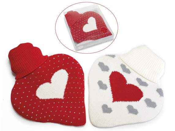 Heart shaped hot water bottle 0.8L w-knitted cover