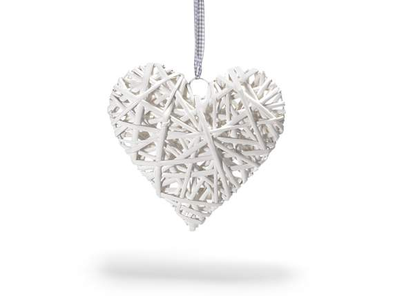 Heart white rattan