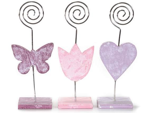 Memo Clip Holz<br> Blume Herz<br>Schmetterling