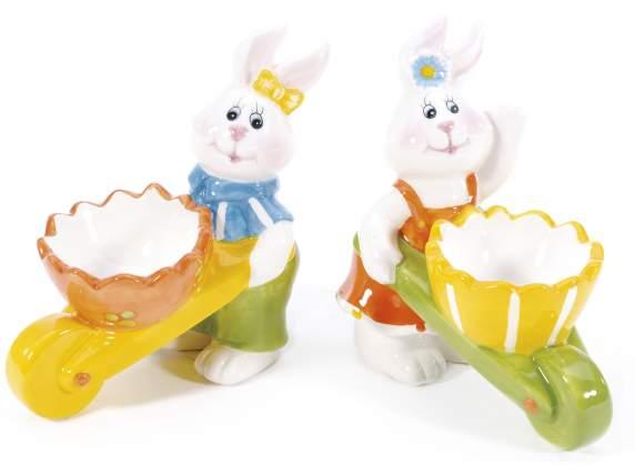 Kaninchen<br> Eierbecher Keramik<br>Schubkarre