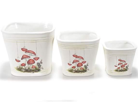 Keramik-Vasen<br>Dekoration Pilze