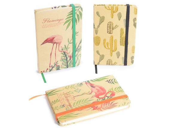 Agenda in carta c-copertina kraft decoro Flamingo-Cactus