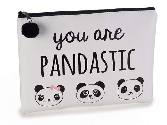 Beauty pochette ecopelle decori Panda c-zip e pompon