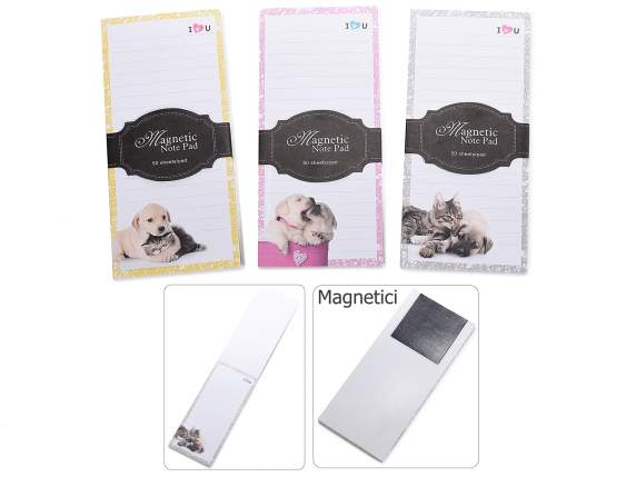 Bloc notes magnetico con stampa cane-gatto