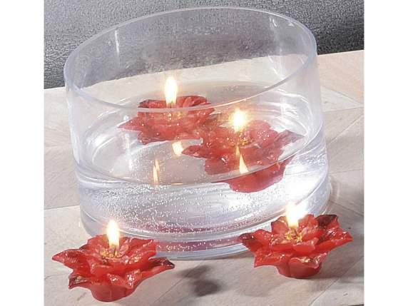Scatola con candele galleggianti a stella di natale