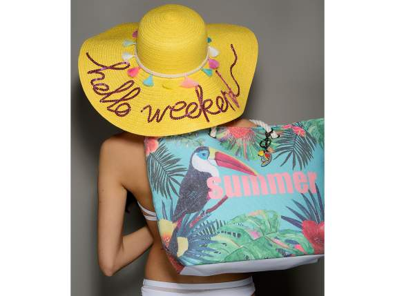 Cappello in paglia colorata e decorato