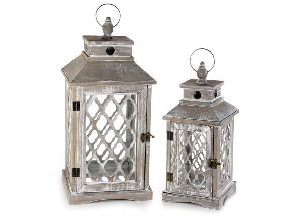 Set 2 lanterne in legno naturale effetto anticato for Lanterne in legno