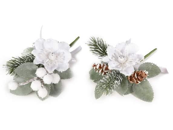 Stella Di Natale Bianca.Mazzolino Innevato Con Stella Di Natale Bianca E Nastrino 54 36 13